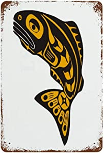 TOPPAEC Vintage Metal American Native Fish Salmon Northwest Pacific Indian Alaska Sign Wall Decor for Cafe Bar Pub Home 12