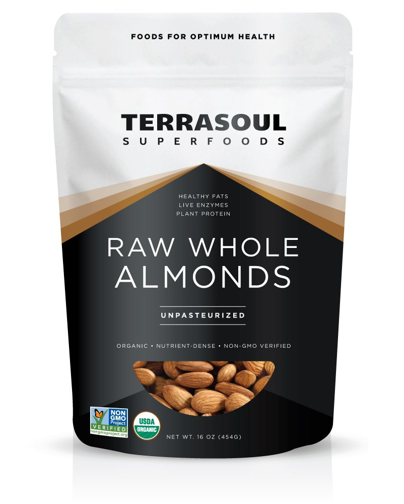 Terrasoul Superfoods Raw Unpasteurized Organic Almonds (Sproutable), 16-ounces