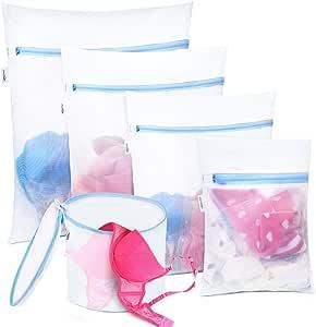 Plusmart Mesh Laundry Bag for Delicates, Lingerie Bag for Laundry, Bra, Underwear, Blouse, 5 Pack