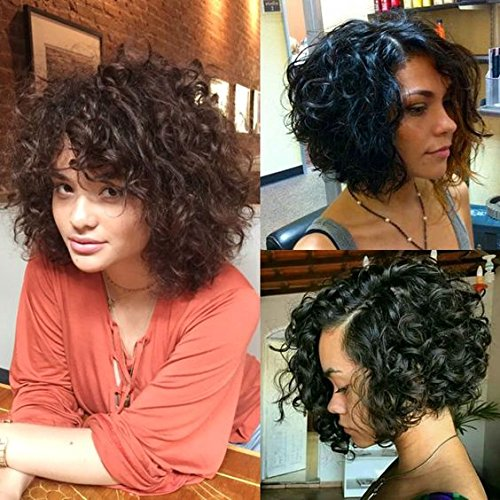 Brazilian Short Curly Bob Human Hair Lace Front Wigs with Baby Hair for Black Women Natural Color 130% Density 10 inch (Human Hair Black Wigs)