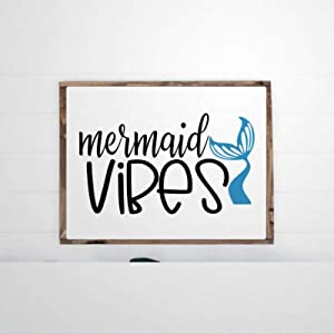 DONL9BAUER Mermaid Vibes Framed Wooden Sign Nautical Wall Hanging Farmhouse Home Decor Wall Art for Living Room