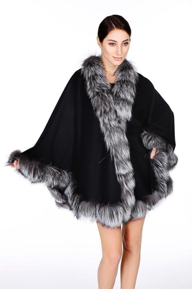 Cashmere Pashmina Group: Cashmere Cape with genuine Fox Fur Trim all around - Black w Silver Fox Fur by Cashmere Pashmina Group