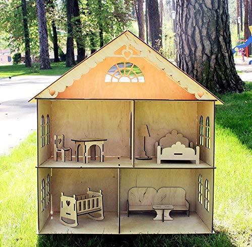 Amazon Com Dollhouse With Furniture Wooden Dollhouse Dollhouse