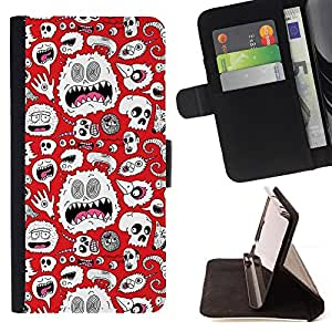 BullDog Case - FOR/Samsung Galaxy S5 V SM-G900 / - / alien monster white wallpaper art skulls /- Monedero de cuero de la PU Llevar cubierta de la caja con el ID Credit Card Slots Flip funda de cuer