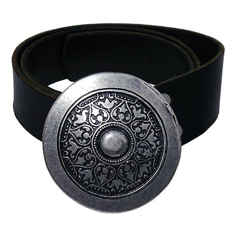 Cintura in pelle con fibbia vichinga – Color Nero in Pelle di vacchetta –  Argento o 81a6a8f58c5