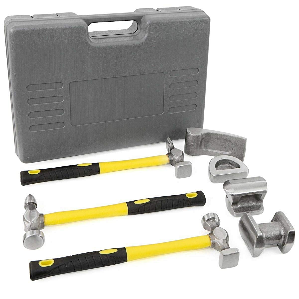 Set of 7 Pcs Standard Bumping Fiberglass Hammer Tool Fender Kits Hammer Dolly Dent Bender Improvement Home Repair Heavy Duty Box Hardware Hand-tool