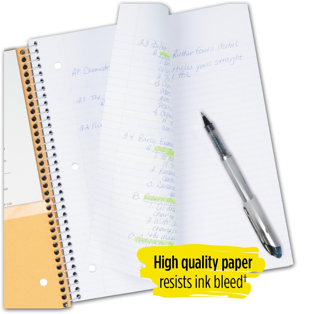 Five Star Spiral Notebooks, 5 Subject, Wide Ruled Paper, 200 Sheets, 10-1/2'' x 8'', Black, White, 2 Pack (73037) by Five Star (Image #5)