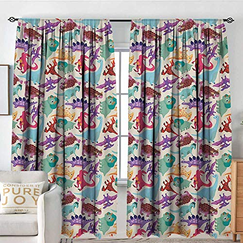Blackout Curtains Kids,Cute Monsters Pattern Dinosaurs Caricature Cartoon Style Funny Creature Playroom Print,Multicolor,Rod Pocket Drapes Thermal Insulated Panels Home décor - Light 84 3 Melbourne