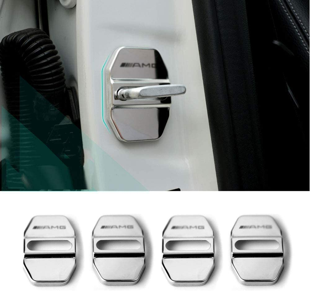 Stainless Steel Car Door Locks Protective Cover Auto Interior Protection Accessories Doors Covers For Mer-cedes Ben-z(4pcs )