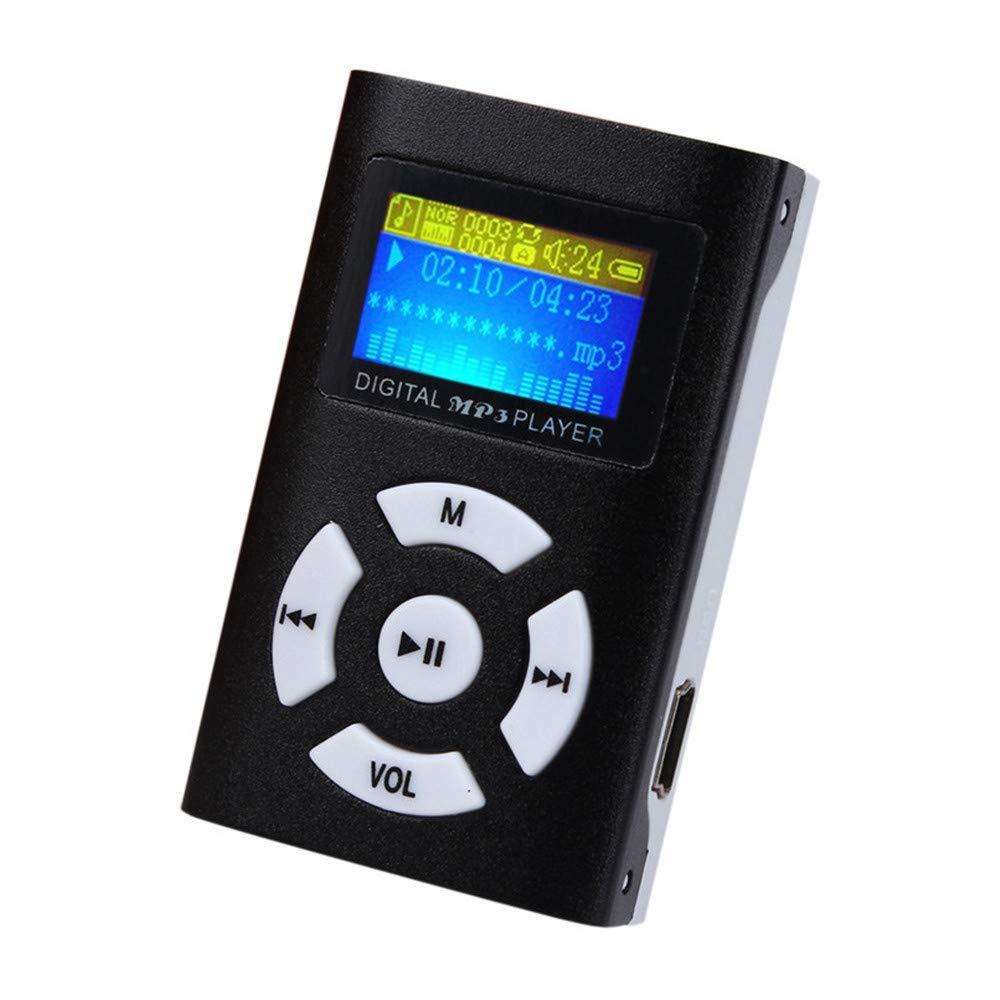 zhang-hongjun,Tarjeta USB Micro SD TF con Soporte para Pantalla LCD de Mini Reproductor de MP3 portátil(Color:Negro)