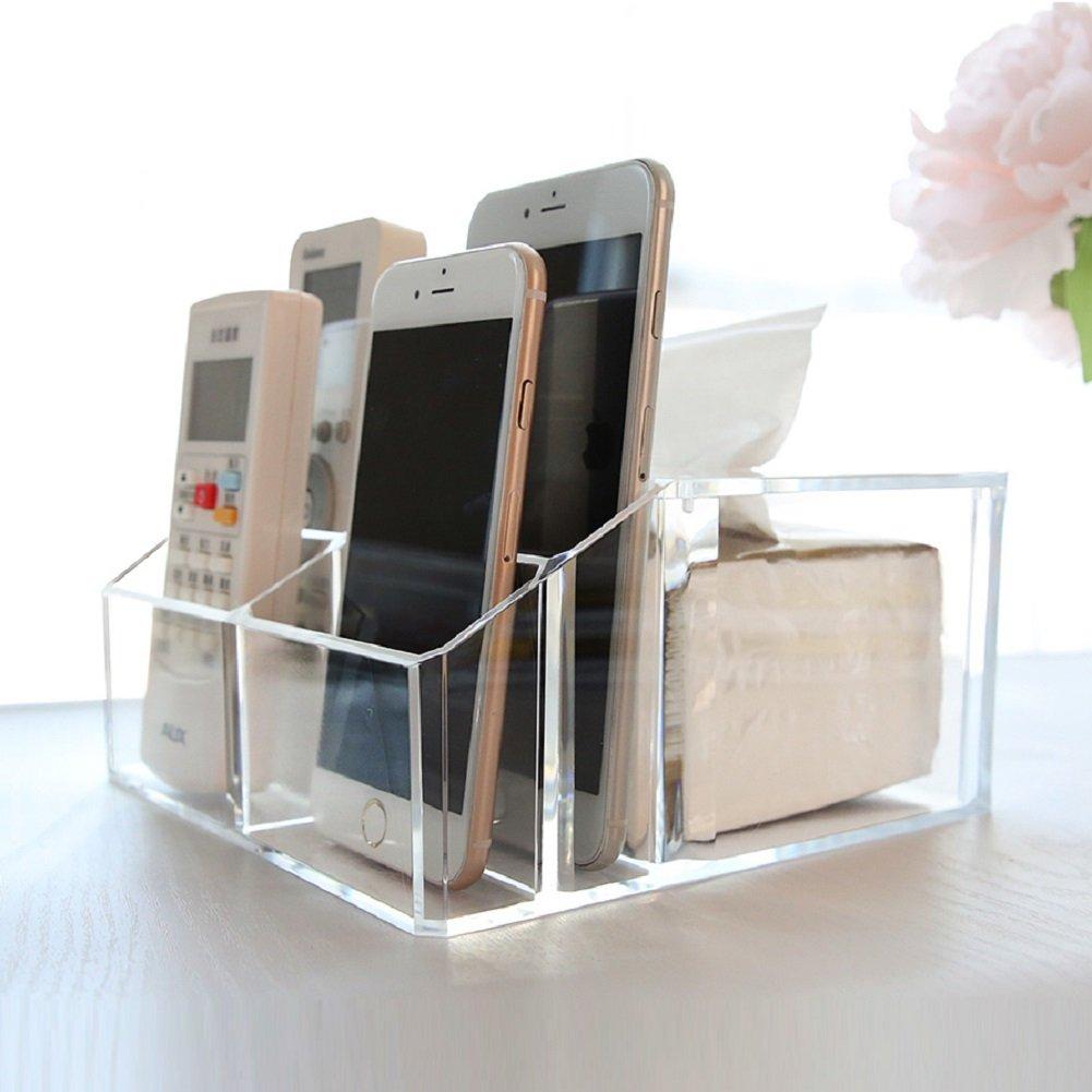 Acrylic Tv remote Control Holder Caddy Organizer Storage Stand,Office Caddy Plenty thick-A
