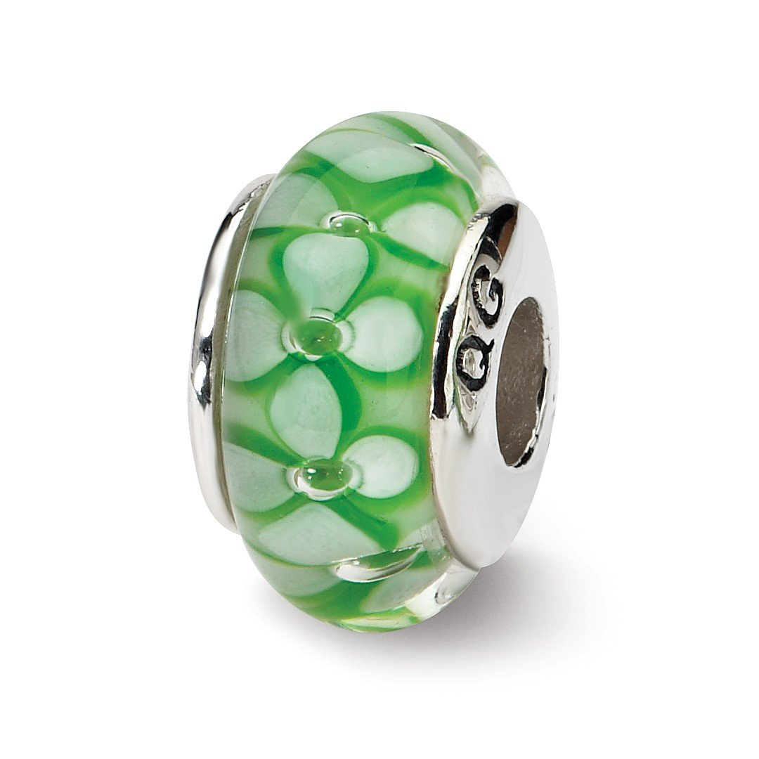 ICE CARATS 925 Sterling Silver Charm For Bracelet Green Floral Hand Blown Glass Bead Glas H Fine Jewelry Ideal Gifts For Women Gift Set From Heart