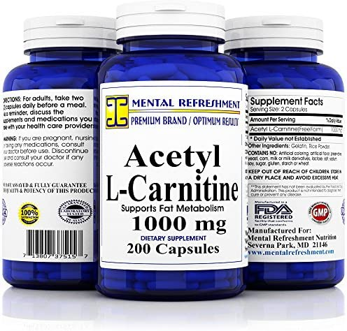 Pure Acetyl L-Carnitine Maximum Strength 1000 mg 200 Capsules