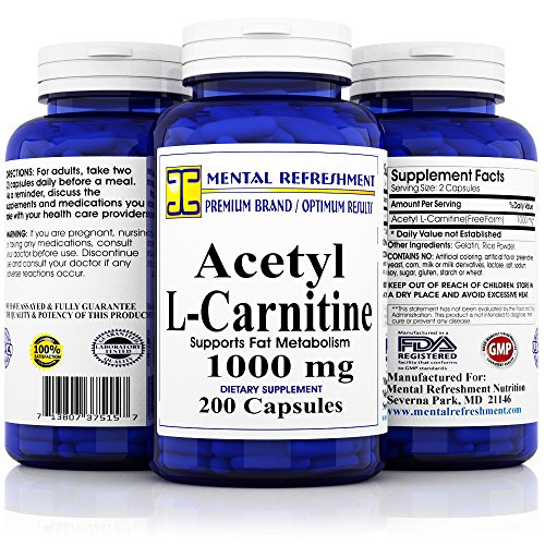 Pure Acetyl L-Carnitine: Maximum Strength 1000 mg 200 Capsules (Best Acetyl L Carnitine Brand)