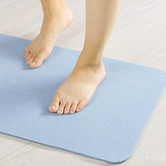 Amazon.com: eDealMax Azul luz Alfombra de baño de Tierra de diatomeas absorbentes de secado rápido Anti Slip alfombras de baño de piso: Home & Kitchen