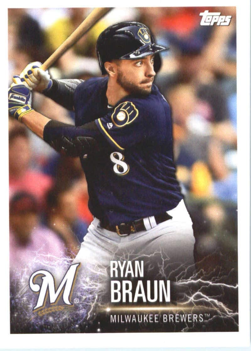 2019 Topps MLB Stickers Baseball #180 Ryan Braun/Jon Lester Milwaukee Brewers/Chicago Cubs Trading Card Sized Album Sticker with Collectible Card Back