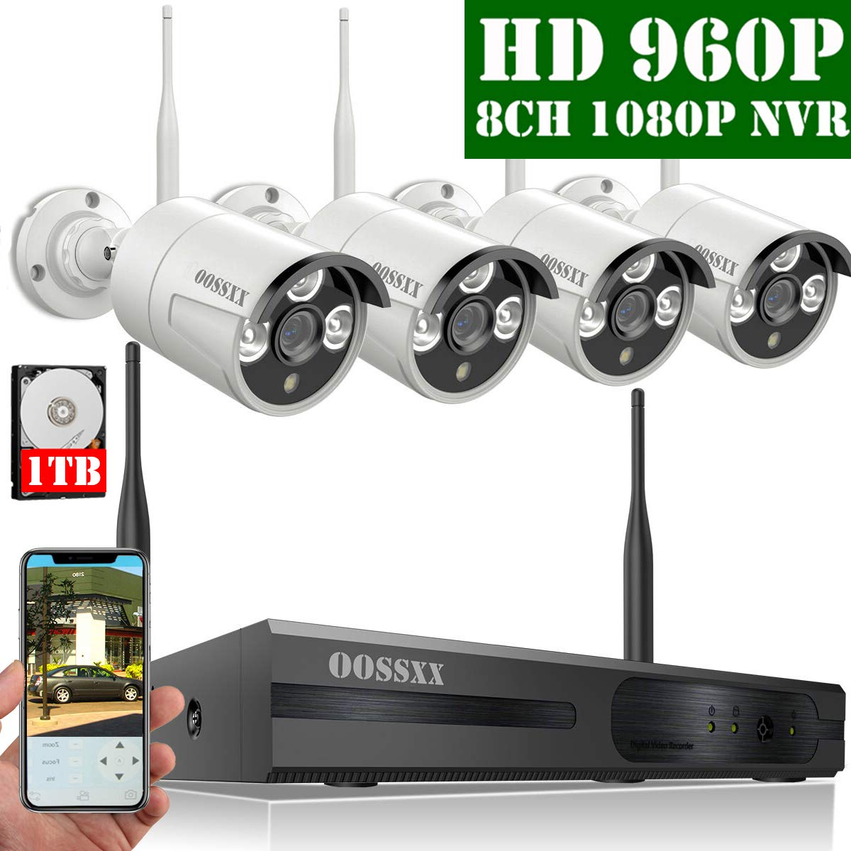 2019 Update HD 1080P 8-Channel OOSSXX Wireless Security Camera System,4Pcs 960P 1.3 Megapixel Wireless Indoor Outdoor IR Bullet IP Cameras,P2P,App, HDMI Cord 1TB HDD Pre-Install
