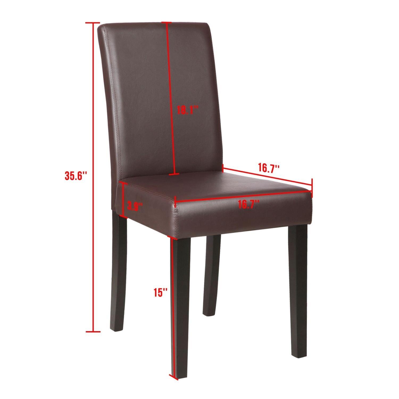 beautifulwoman Set of 4 elegant design dining chair kitchen dinette room brown leather backrest
