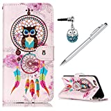 KASOS iPhone 6 Plus/iPhone 6S Plus Case Wallet Embossed Gloss Oil Colorful Painting Owl Dream Catcher Leather TPU Inner Kickstand Card Holders Magnetic Flip Cover & Dust Plug & Stylus - Dream Catcher