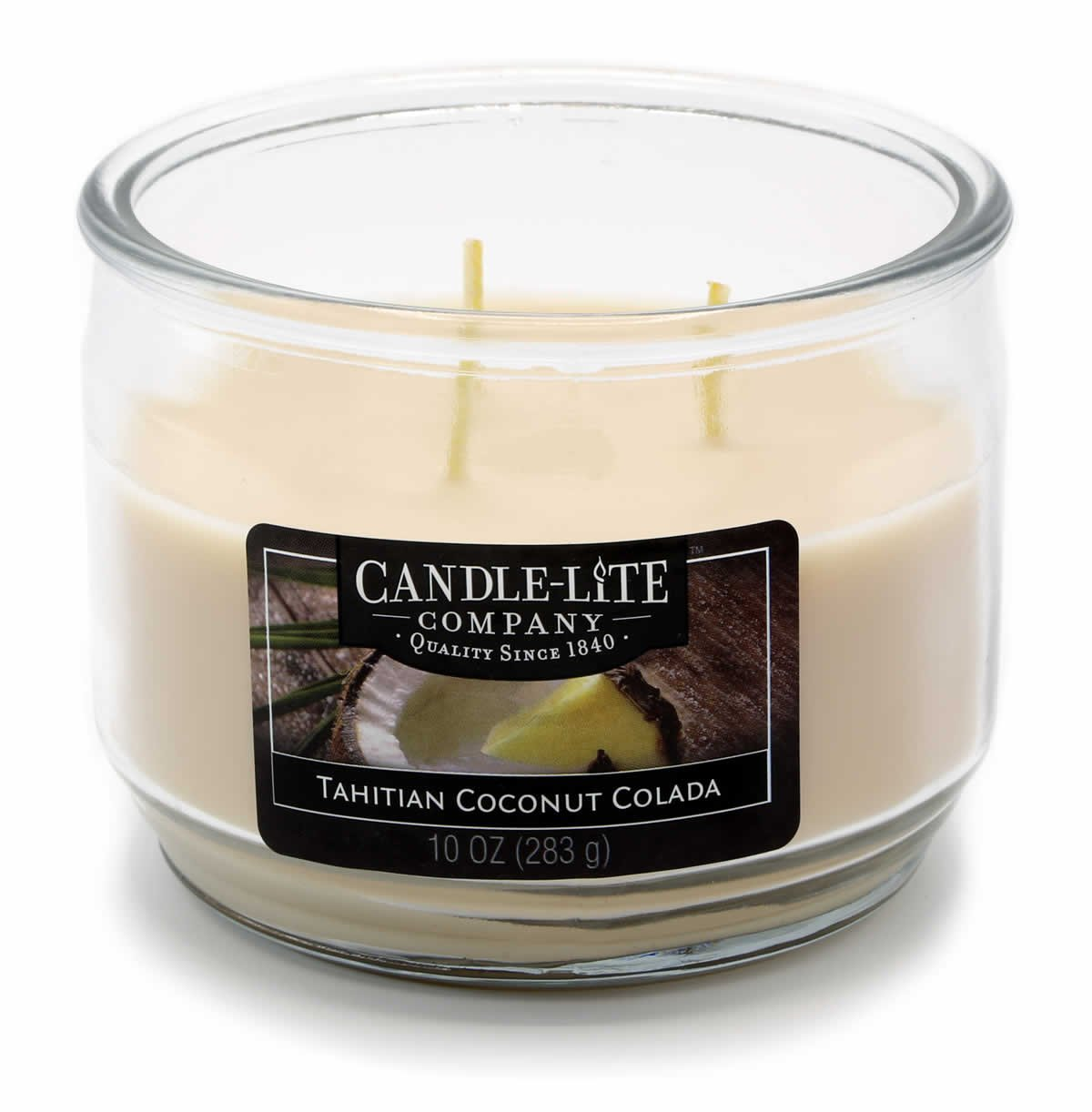 Candle Lite 3Wick Jar Candle–Tahitian Coconut Colada 283g, White, 10.5x 10.5x 8.2cm by Candlelite