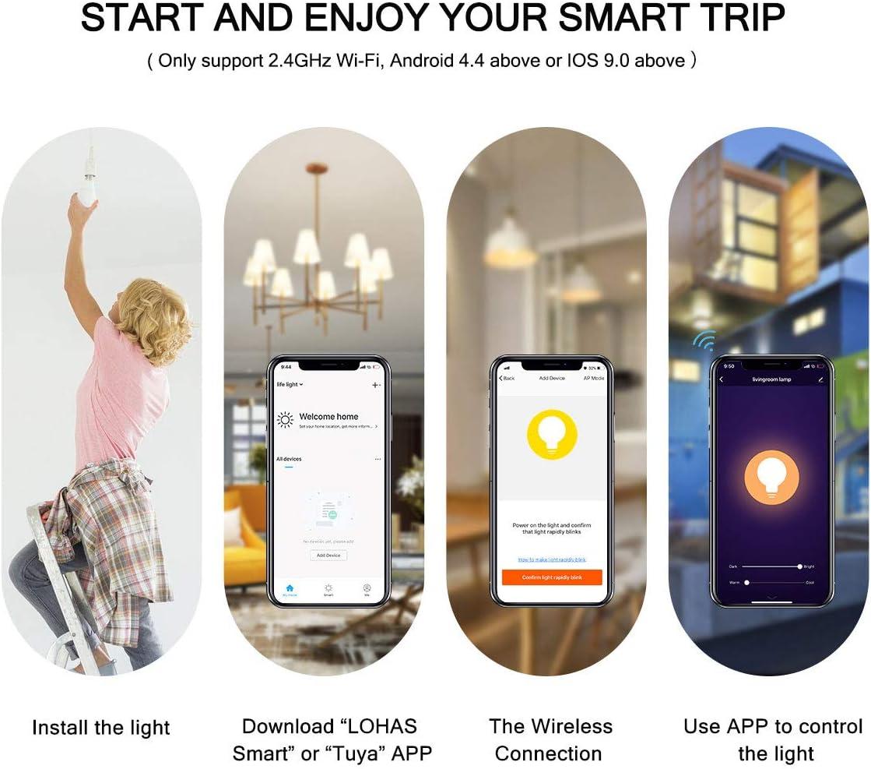 LOHAS 40Watt Warm Daylight Smart WiFi Lights Google Home Smart LED Dimmable Candelabra Bulb E12 Base 2Pack Tunable White 2000-6500K Works with Alexa Siri for Ceiling Fans Light Update Version