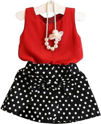RYGHEWE 2Pcs Baby Girls Summer Striped Ruffled T-Shirt Tops Halter Overall Shorts Sets