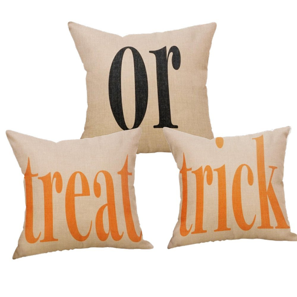 Decemter 3-Pack Halloween Treat or Trick Home Decor Square Throw Pillow Covers 18'' x 18''
