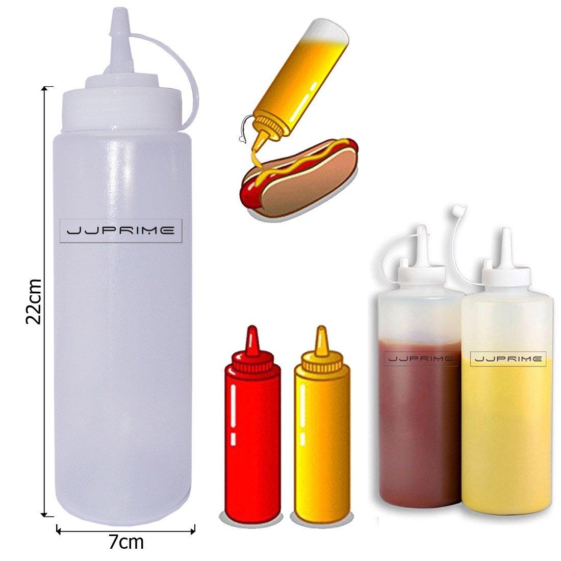 Jjprime–Flash vendita–6pezzi di plastica trasparente Squeeze bottiglia condimento dispenser ketchup senape maionese chili salsa aceto bottiglie coperchio Cap, 24 Oz / 700ml JJOnlineStore