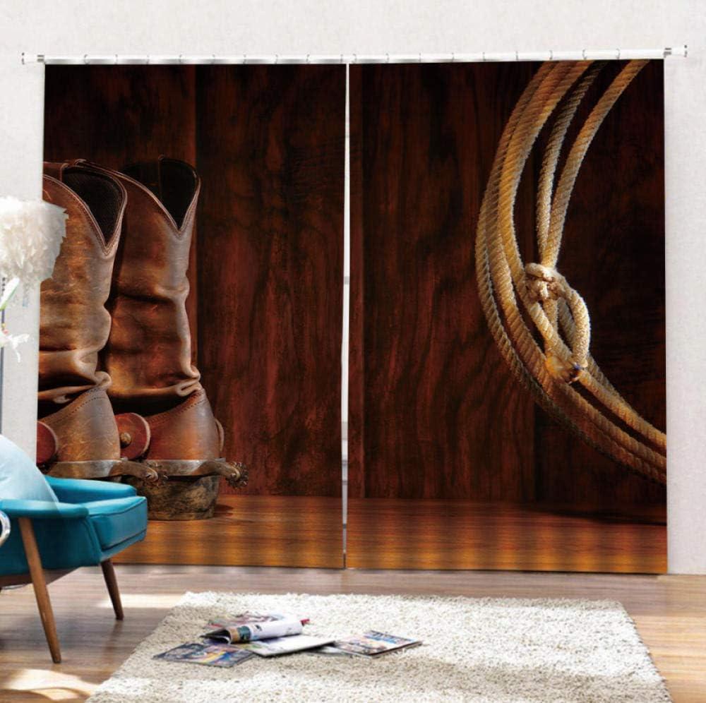 ZLXSAM Cortinas Bufanda Botas De Cuero Y Látigo Detrás De La Puerta. L59 X66 W/150X166Cm Moderno Ventana Salon Paneles con Ojales para Sala Cuarto Comedor Salon Cocina Habitación