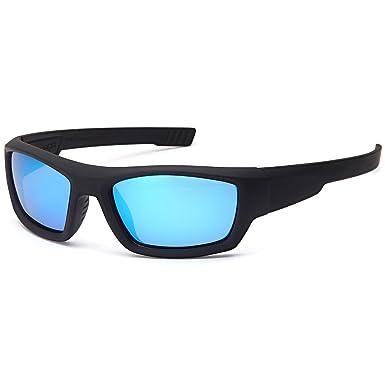 b47deda7ae5 NAGA Kids 6-14 UV400 Polarized Sports Sunglasses - Blue Mirror Lens Black  Frame