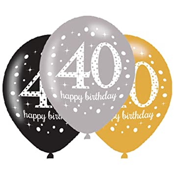 6 globos de 40 cumpleaños, celebración de oro, color negro ...