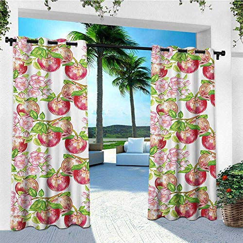 leinuoyi Victorian, Outdoor Curtain Ends, Apple Tree in Summer Time with Flowers Nature Scenery Cultural Artwork Print, for Patio Furniture W96 x L108 Inch Red White Green (Furniture Sale Garden For Victorian)
