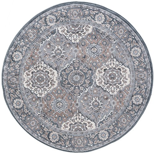 Newcomb Traditional Oriental Gray Round Area Rug, 5' Round