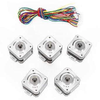 Amazon.com: WUPYI - Motor paso a paso Nema 17,5pcs Nema 17 ...