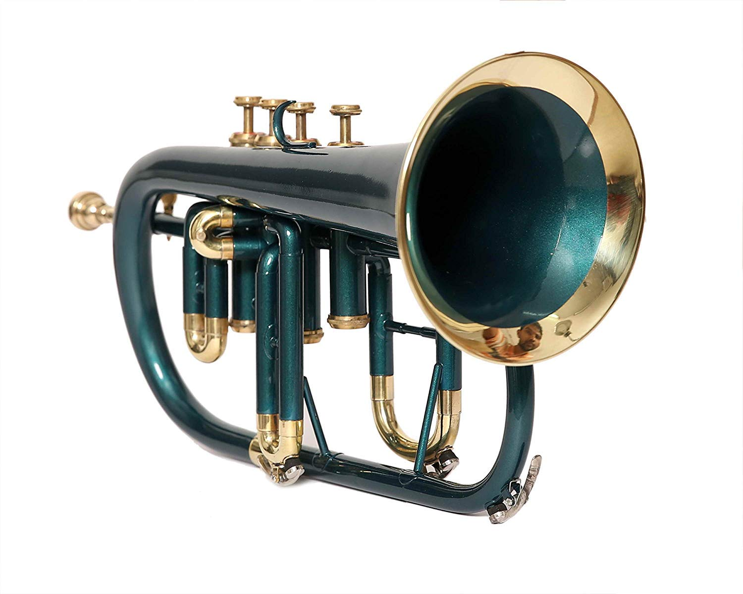 PROFESSIONALS FLUGEL HORN 4 VALVE Bb PITCH GREEN COLORED W/CASE AND MOUTHPIECE by SAI MUSICAL