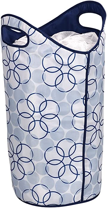 Household Essentials 2500 Soft Sided Laundry Hamper with Handles and Mesh Top Closure - Blue and White