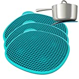 3 Piece Flipon Magnetic Blue Silicone Trivets Set Kitchen For Hot Pans Dining Table Round