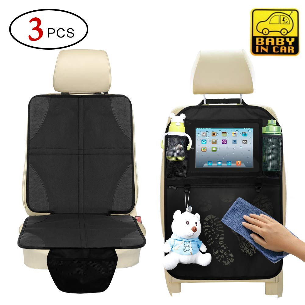 Car Seat Protector for Leather and Rear Back Seat Organizer with Tablet Holder,Carseat Seat Protectors Under Car Seat and Kick Mat by Volcanics