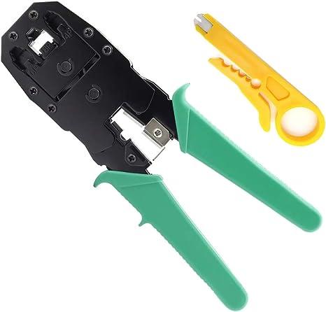 FLYFLY Crimpadora Pelacables para Cables RJ45 RJ11, Alicate Pelacables Crimpadora Autoajustable para Pelar/Cortar/Presionar el Cable: Amazon.es: Bricolaje y herramientas