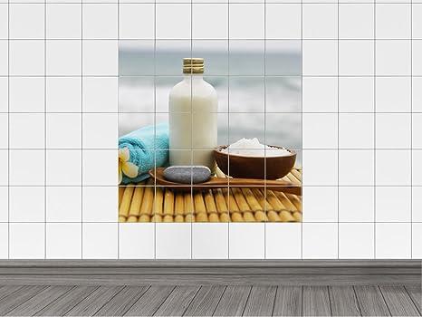 Piastrelle adesivo piastrelle immagine asciugamano bottiglia sali