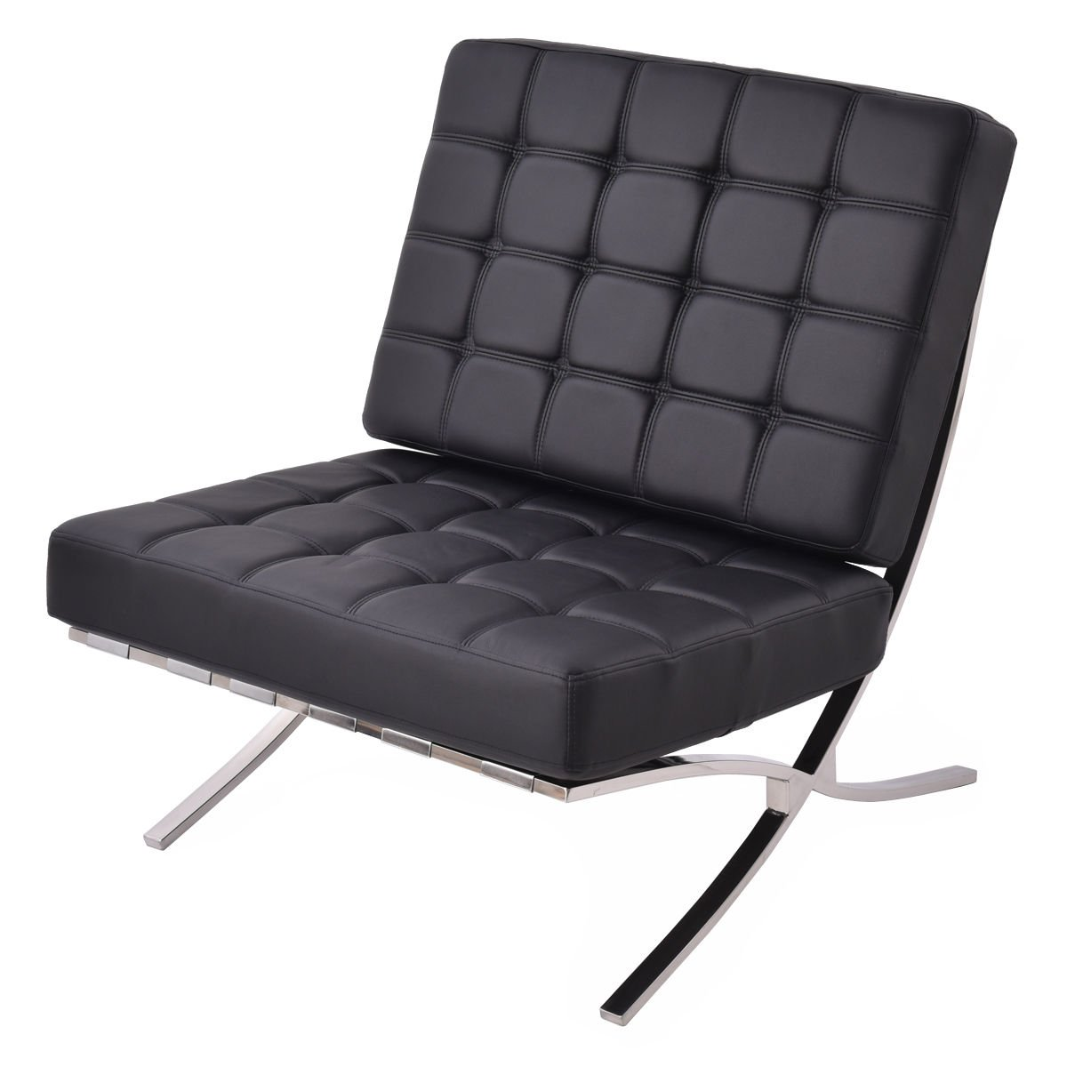 Giantex PU leather Pavilion Chair Barcelona Style Steel Frame Chaise Lounge Modern (Black)
