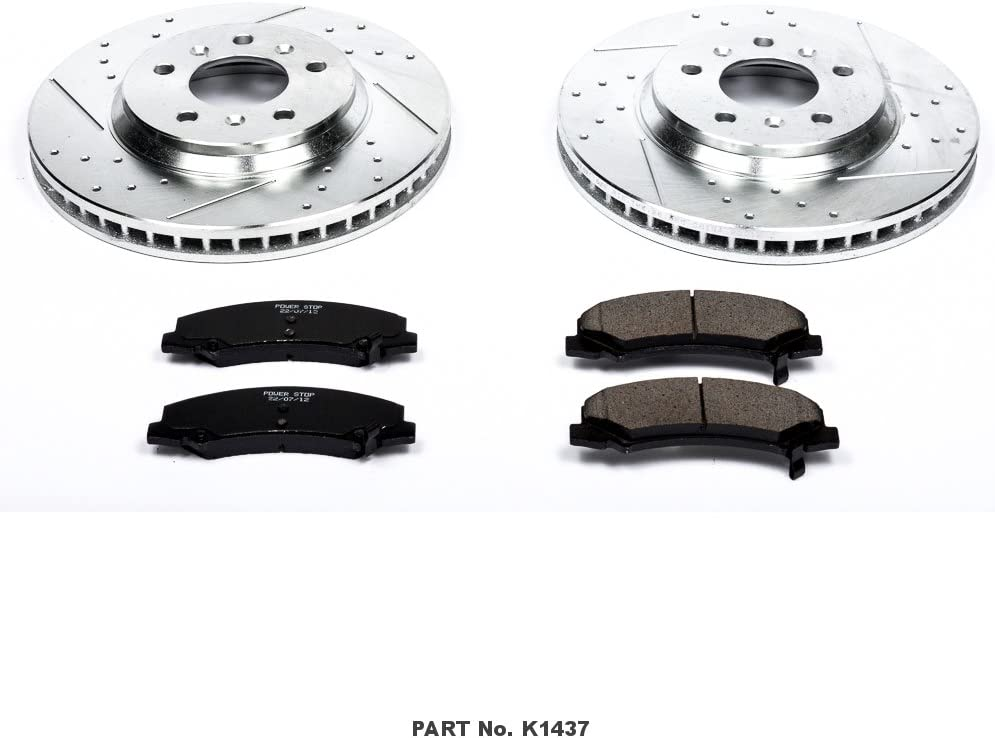 Power Stop K1857 Front Z23 Evolution Brake Kit with Drilled//Slotted Rotors and Ceramic Brake Pads