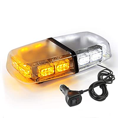 LE-JX Amber/White 36 LEDs Flash Emergency Light 12-24V 18W Warning LED Mini Bar Strobe Light High Intensity Yellow Rotating Beacon Roof Top Plow Hazard Lights with Magnetic Base and Cigar Lighter Plug: Automotive