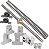 Industrial Combination,Ideaker 500mm Horizontal Optical Axis & 2mm Lead Screw Dual Rail Shaft Support Pillow Block Bearings & Flexible Shaft Coupling Set of 15