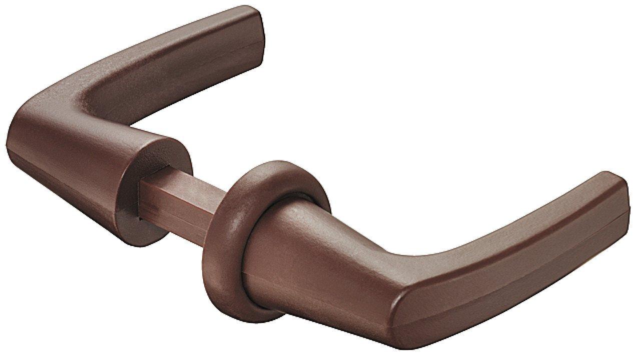 Tü rdrü cker-Garnitur Rosette-Griffpaar fü r Push-Lock Aufschraub-Fallenschloss | Kunststoff braun | Drü ckerstift-Profil 7 mm | Baubeschlä ge von JUVA®