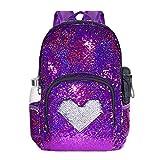 Glitter Sequin School Backpack for Grils Kids Student Bookbag Lightweight Child Toddler Schoolbag, 17'(H)12¼'(L)4¾'(W) (Model1- Rose Red/Silver)