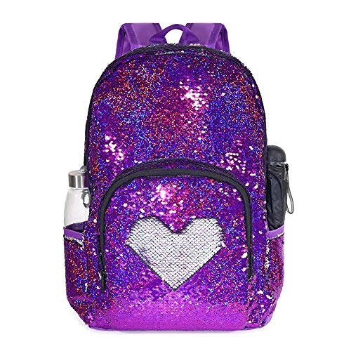 Glitter Sequin School Backpack for Grils Kids Student Bookbag Lightweight Child Toddler Schoolbag, 17