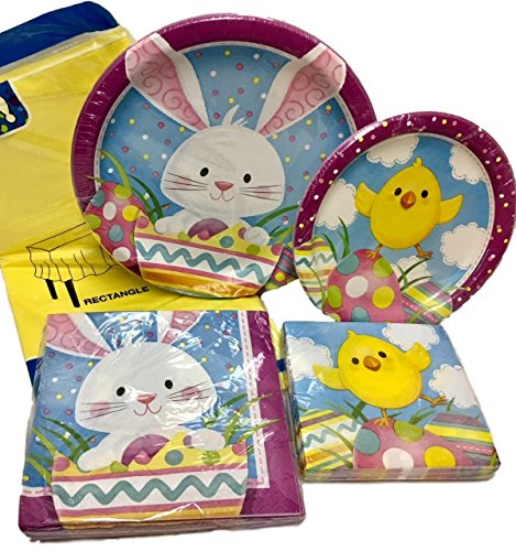 49 Piece Easter Bunny and Chick Party Supplies Bundle for 8 - Disposable Paper Plates, Napkins, Tablecloth Set
