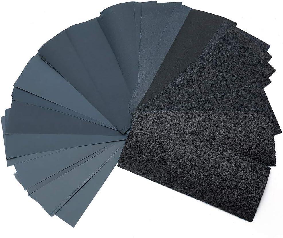 LotFancy 80 to 3000 Grit 45PCS Silicon Carbide Dry Wet Sandpaper