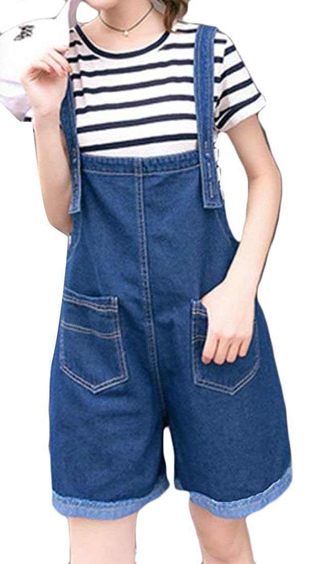 Pluszing Womens Washed Casual Wide Leg Denim Jeans Jumpsuit Overalls